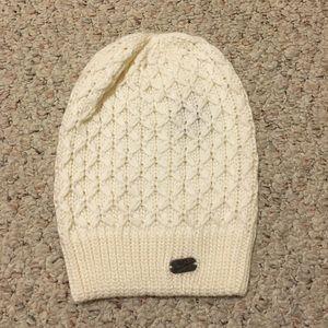 Nike cream beanie w/ knit pattern